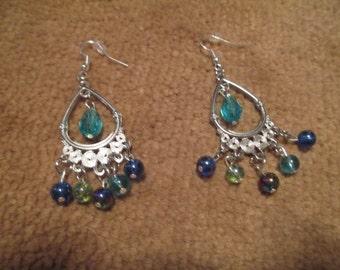 Multi-color glass bead earrings