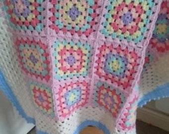 """Crochet Baby Blanket girl pastels traditional grannysquare handmade babygift 29"""" 75cm"""