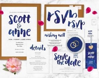 Wedding invitation set, Navy wedding invitation, RSVP postcard, Wedding details card, Wedding set, Wedding suite, Watercolour wedding invite