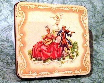 Victorian Mini Tin, Man and Woman Victorian Tin, Made in England Cigarette Tin, English Tin