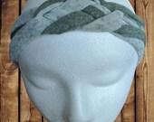 Women's Headband/Turban Sailor Knot Olive Green Stripe Jersey