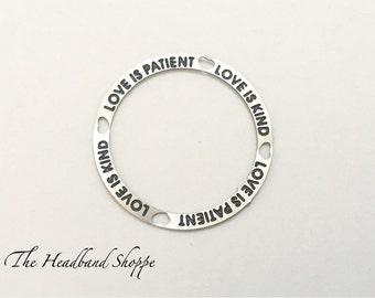 Love Is Patient Love Is Kind locket border charm - window screen - customized locket plate - wedding locket accessory