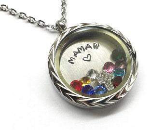 MAMAW - Floating Charm Locket - Memory Locket - Custom Hand Stamped Gift for Mamaw