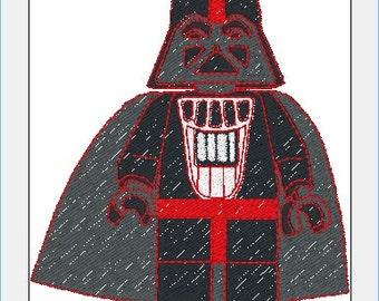 Lego Star Wars Darth Vader Embroidery Design in PES+3 Formats