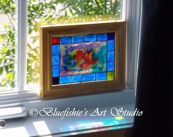 Faux-vitrail original glass painting; framed / One of a kind glass painting!