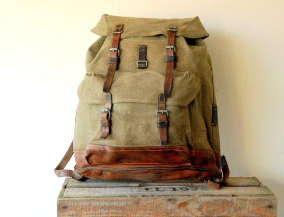 Swiss Army Backpack Rucksack Salt And Pepper Vintage