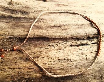 bracelet copper on light gray coton wire - Friendship - wish bracelet - wedding and layering bracelet