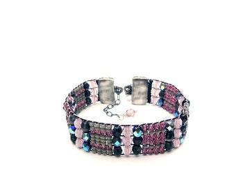 Woven  Beaded Bracelet,Amethyst Bracelet,Handloomed Bracelet,Boho Bracelet,Sundance Bracelet,Handmade,Gift for her,Colorful