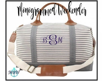 FREE MONOGRAMMING, Monogrammed Weekender Bag, Personalized Overnight Bag, Grey Striped Weekender with Genuine Leather Accents