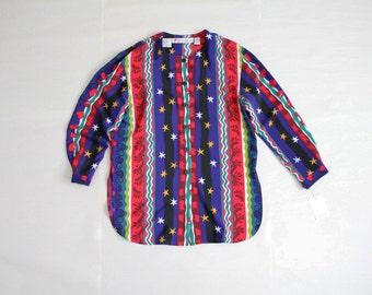 stars & hearts blouse / oversized blouse / 90s blouse