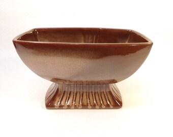 Vintage Brown Satin Frankoma #17 Pedestal Bowl, Dish, Planter