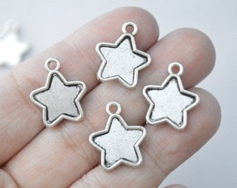 8 Pcs Star Charms Antique Silver Tone 18x15mm - YD1089