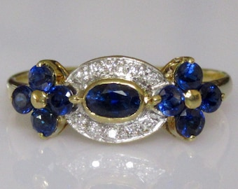 18ct Gold Sapphire and Diamond Flower Ring
