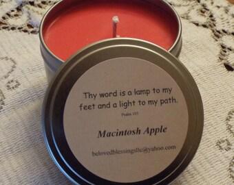 Macintosh Apple 8 oz Soy Candle Tin