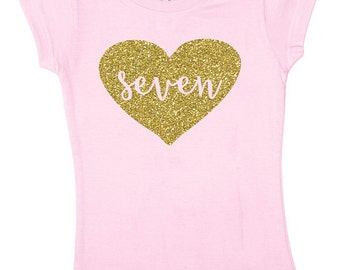 Seven Glitter Shirt - 7 Year Old Birthday Shirt - 4 Color Choices - Seven Sparkle Birthday Tee - Birthday Outfit - Seventh Birthday Shirt
