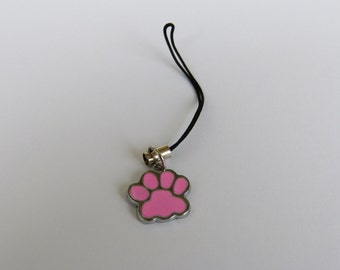 Cell phone charms - pink enamel paw