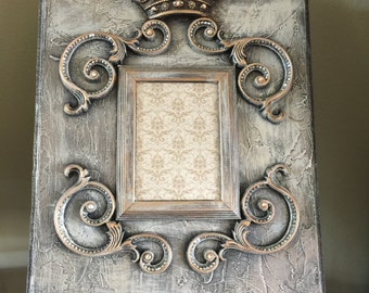 "XL 16"" x 20"" Decorative Embellished White Frame with GOLD Crown Iron Scrolls and Bling - Free Shipping"