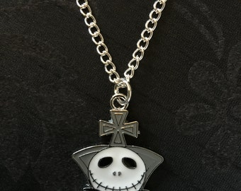 Silver Plated The Nightmare Before Christmas Jack Skellington Necklace (Des.2)
