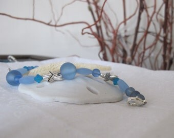 Seaglass and Starfish bracelet ~ blues