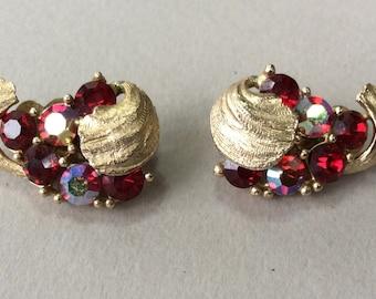 Lisner Red Aurora Borealis Rhinestone Clip Earrings