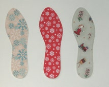 Washable Shoe Liners - Tis the Season - 100% Absorbent Cotton Face - Stiff Poly Backing - Reinforced Stitching - Thin