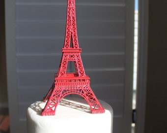 "6"" Red Paris Eiffel Tower Cake Topper, Wedding, Sweet 16, Quince, French Party, Centerpiece, Decoration, OverTheTopCakeTopper"