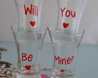 Will You Be Mine Set Of 4 Valentines Day Shot Glasses - Can Be Personalised For Free