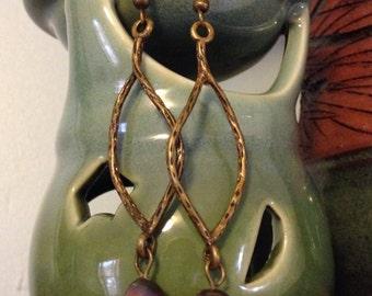 Simple elegance: Bronze freshwater pearl earrings
