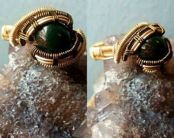 BloodStone Wire Wrapped Ring - Size 7.5