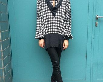 Vintage 80s Checker Silk Blouse Black and White Size M