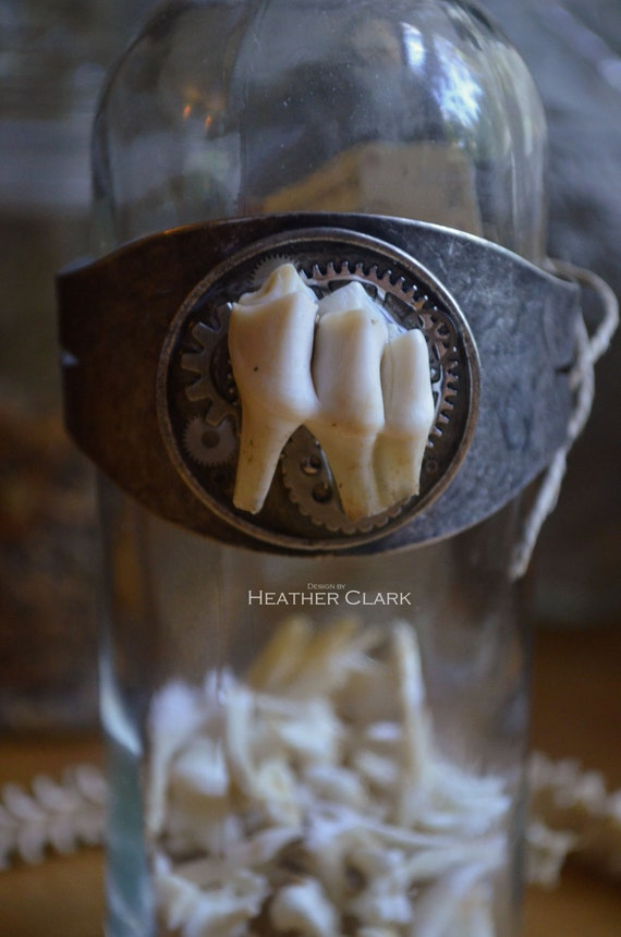 Real Deer Tooth Steampunk Themed Bangle Bracelet