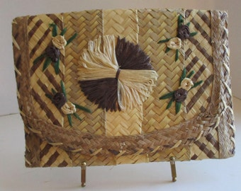 Vintage Retro Woven Straw - Rattan Clutch, geometric beige tones, 4 flowers on front, lined; 10 1/2 x 7 1/2