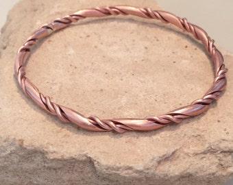 Copper bangle bracelet, twisted bangle bracelet, stackable copper bracelet, stackable bangle, gift for her, gift for wife, simple bangle