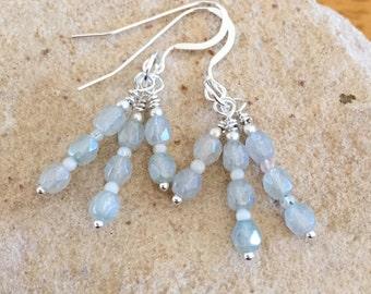 Green cluster earrings, Czech glass bead earrings, agate bead earrings, sterling silver earrings, drop earrings, dangle earrings