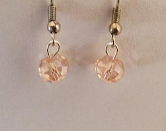 Pink Aurora Borealis Crystal Beaded Silver Tone Pierced Earrings