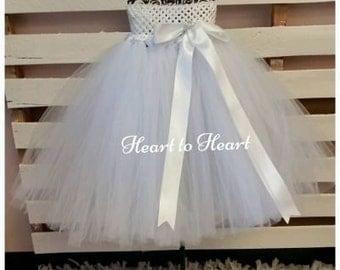 White tutu A-line dress, flower girl tutu dress, birthday tutu outfit, fluffy white  tutu dress, flower girl, wedding, newborn tutu