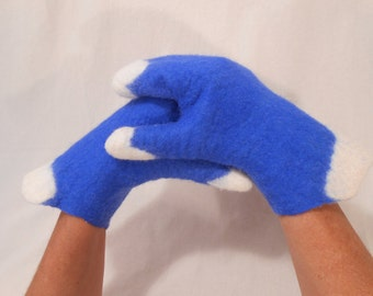 Felt mittens, Merino wool felted gloves, Blue-white merino gloves, Winter, autumn accessory