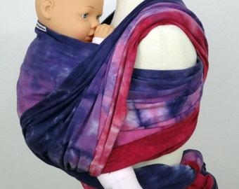 100% organic cotton hand dyed baby wrap SIZE 8 (5,6m), Purple, pink, lilac, fuchsia