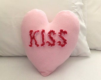 Kiss Heart Pillow with Chenille Letters, Valentine Conversation Heart
