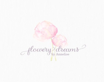 Watercolor Flower Logo Watercolor Peonies Logo Blog Logo Design Florist Logo Photography Logo Event Planner Logo