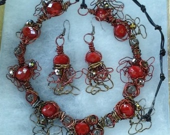 "Red Jewelry Set, Handmade- Crystal, Copper, Bronze, Design,  Collared Necklace (22"", adjustable)/Earrings (2""))"