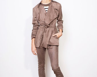 Final sale, Brown suit, Veggie suede suit, Pockets suit, Wrapping jacket, Suede suit, Suede set
