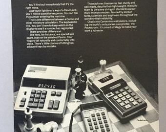 1973 Canon Mini Calculators Print Ad