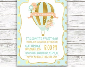 Hot Air Balloon Invitation, Hot Air Balloon Birthday Invitation, Birthday Invitation Girl, Floral First 1st Birthday Invite, Printable