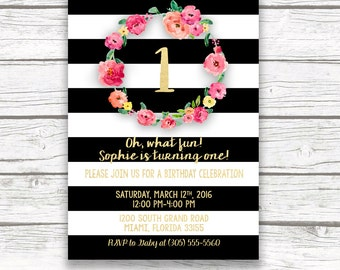 First Birthday Invitation Girl, Black and White Floral Birthday Invitation, Pink and Gold Birthday Invitation, Stripe First Birthday Invite