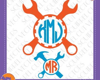 Mechanic / Handyman / Tools Monogram Frame SVG DXF EPS Cutting file