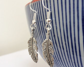 Feather Dangle Earrings Pair Silver Sterling Hooks