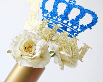 Royal Baby Shower Centerpiece - Prince Baby Shower - Little Prince Decorations -Royal Blue and Gold -Royal Baby Shower -Crown Centerpiece