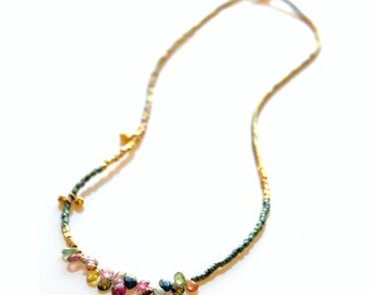 Watermelon Tourmaline Necklace, Colorful Gemstone Necklace , Delicate Multicolored Briolette Necklace, Minimalist Miyuki Seed Bead Necklace