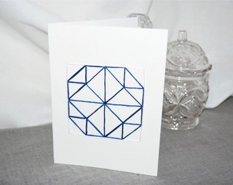 Rhapsodic Threads Brand: BUTTONS quilted blank greeting card in deep royal blue